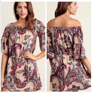 Paisley Taupe On/Off the Shoulder Tunic or Dress